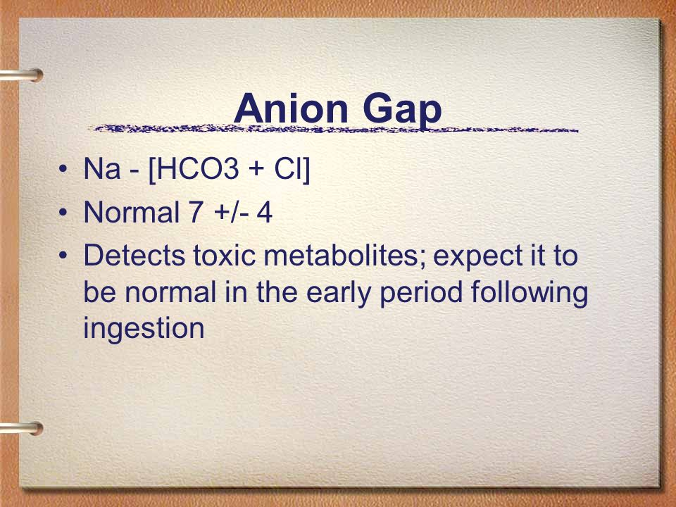 Anion Gap Na - [HCO3 + Cl] Normal 7 +/- 4